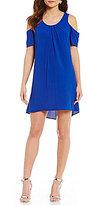 Sequin Hearts Lace Back Cold-Shoulder Shift Dress