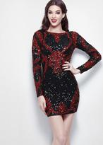 Primavera Couture - 1317 Long Sleeve Sequined Cocktail Dress