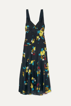 Maeve Lee Mathews Floral-print Silk Maxi Dress - Navy