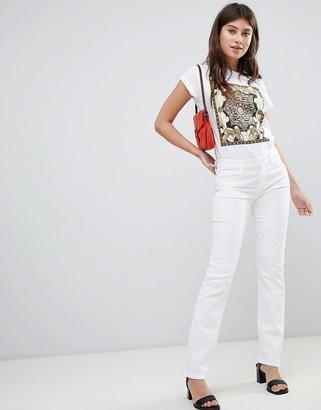 J Brand Amelia Mid Rise Straight Cut Jeans-White