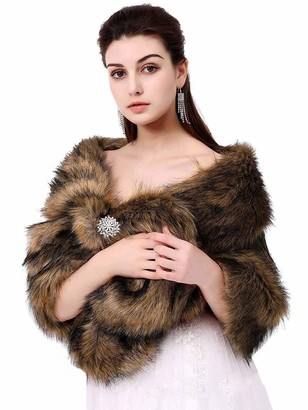 Apricity Sleeveless Faux Fur Shawl Wedding Fur Wraps and Shawls Bridal Fur Stole for Brides and Bridesmaids (Dark Brown)