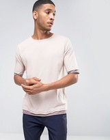 Asos Oversized T-Shirt With Contrast Cuff And Hem Extender And Crew Neck