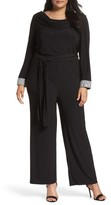 Marina Plus Size Women's Embellished Cowl Back Jumpsuit