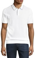 Michael Kors Contrast-Tip Cotton Polo Sweater