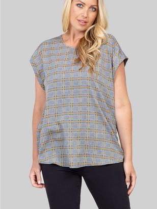 M&Co Izabel Curve checked boxy t-shirt