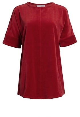 Joan Vass Velour Short-Sleeve Tunic