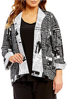 IC Collection Plus Newspaper Print One Button Front Asymmetrical Jacket