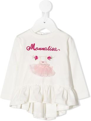 MonnaLisa Logo Embroidered Ruffle Hem Top