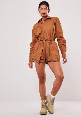 Missguided Tan Oversized Cargo Utility Romper