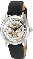 Stuhrling Original Women's Automatic Watch with Silver Dial Analogue Display and Black Leather Strap 156.06