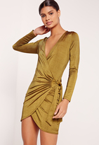 Missguided Slinky Ribbed Wrap Dress Green
