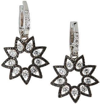 Roberto Coin 18k White Gold Black & White Diamond Flower Earrings