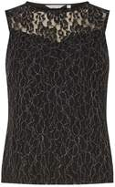Dorothy Perkins Petite Black Metallic Lace Shell Top