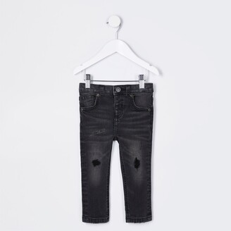 River Island Mini boys Black wash Sid ripped skinny jeans
