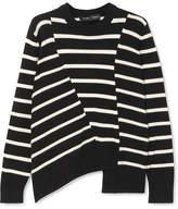 Proenza Schouler Asymmetric Striped Cotton-blend Sweater - Black