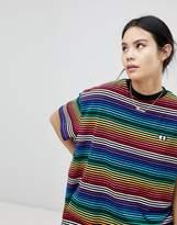 Lazy Oaf Oversized T-Shirt In Rainbow Stripe