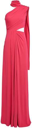 Saloni Honey Crepe Cut-Out Gown