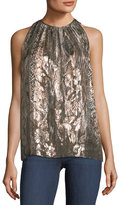 Elie Tahari Gigi Sleeveless Printed Metallic Silk-Blend Top