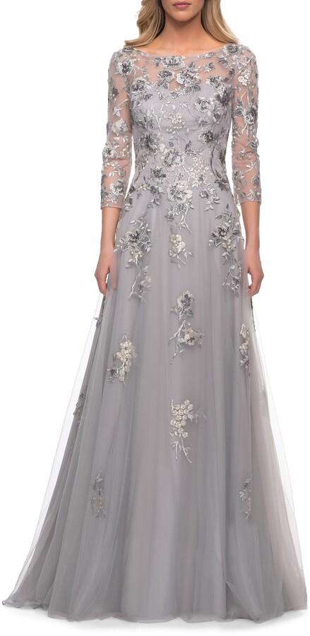 La Femme Beaded Lace Tulle A-Line Gown