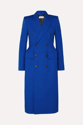 Balenciaga Hourglass Double-breasted Wool-blend Coat - Blue
