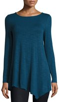 Neiman Marcus Relaxed Asymmetric Long-Sleeve Tunic, Steely Blue