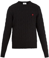 Ami Crew-neck Cable-knit Wool Sweater