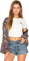 Free People Soft Printed Balloon Sleeve Jacket in Purple. - size XS (also in )