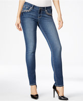 Project Indigo Juniors' Embroidered Bling Skinny Jeans