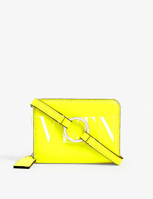 Valentino Fluorescent leather wallet with strap