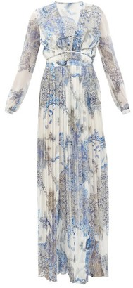 Raquel Diniz Valentina Paisley-print Silk-georgette Dress - Blue White