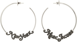 Marc Jacobs Silver Diamante Logo Hoop Earrings