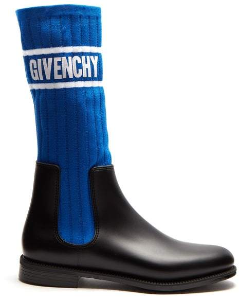 Givenchy Storm Ribbed Knit Chelsea Boots - Womens - Black Blue