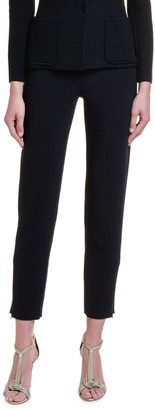 Giorgio Armani Textured Stretch-Wool Slim-Leg Pants