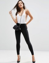 Asos Rivington High Waist Denim Jeggings In Clean Black