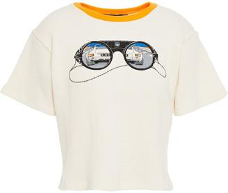 Simon Miller Printed Waffle-knit Cotton T-shirt