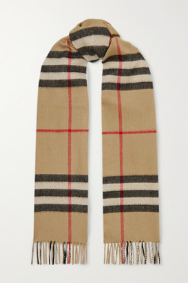 Burberry + Net Sustain Fringed Checked Cashmere Scarf - Brown