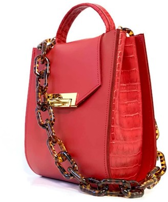 Angela Valentine Handbags Romi Croc Embossed Bag In Saffron Red