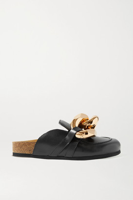 J.W.Anderson Chain-embellished Leather Slippers - Black