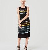 LOFT Petite Striped Blouson Midi Dress