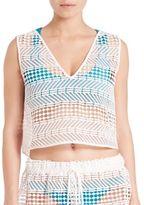 Milly Crochet V-Neck Shell