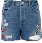 Topshop MOTO Painted Boyfriend Shorts