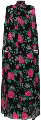 Richard Quinn Floral-Print Cape-Back Gown