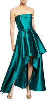 Badgley Mischka Strapless High-Low Solid Mikado Gown