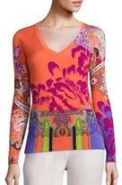 Etro Floral-Print Stretch-Silk Knit Top