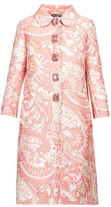 Dolce & Gabbana Crystal Button Paisley Brocade Coat - Womens - Pink White