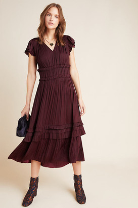 Sereia Pleated Midi Dress By Current Air in Purple Size 2 X