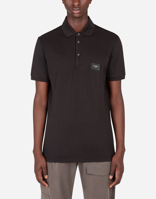 Dolce & Gabbana Cotton Pique Polo Shirt With Branded Plate