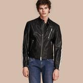 Burberry Stripe Detail Leather Jacket