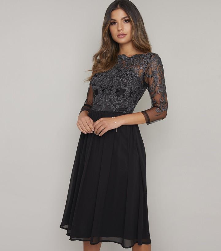 Thumbnail for your product : New Look Chi Chi London Lace Bardot Chiffon Dress