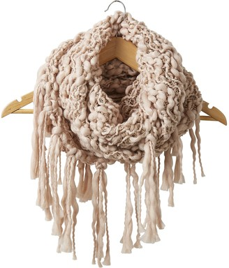 Tickled Pink Accessorie's Women's Thick Knitted Infinity Circle Scarf with Fringe 25x16 Loop